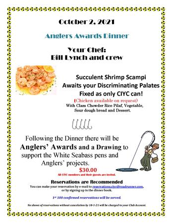 Anglers Awards Dinner all CIYC members invited!