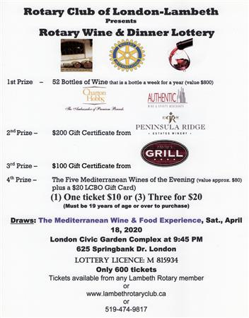 Rotary 2020 Wine & Food Lottery CANCELLED