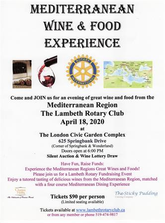 Mediterranean Wine and Food Experience  CANCELLED
