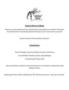 Community Theatre in Scarborough-How to put on a show.