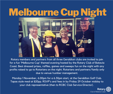 """""""Melbourne Cup - Joint Rotary Club Meeting"""" Partners Night 01/11/2021"""