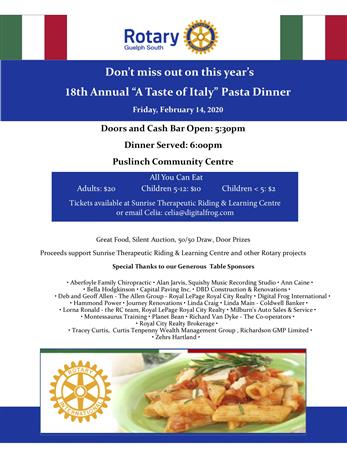 """18th Annual """"A Taste of Italy"""" Pasta Dinner"""