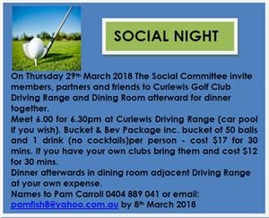 At Curlewis Golf Club Driving Range with Dinner afterwards