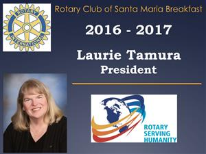"""SB County Vision program   / Past President Laurie Tamura will be """"in charge""""."""