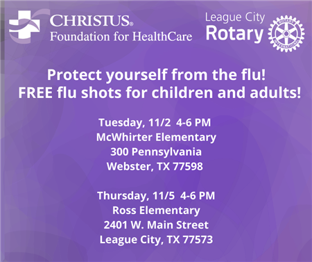 Flu Clinic at McWhirter Elementary--Tuesday, 11/2