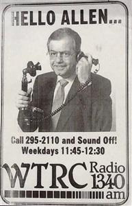 The History of WTRC AM radio in Elkhart and Allen's entertaining program