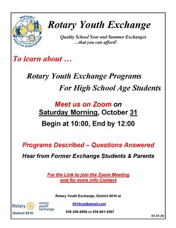 Rotary Youth Exchange Informational Meeting