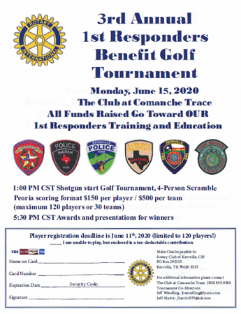 Kerrville's 3rd Annual 1st Responders Benefit Golf