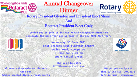 Rotary and Rotaract Wooloongabba Changeover