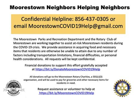 Moorestown Food Delivery/Financial Help -Covid-19