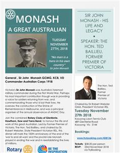 Sir John Monash - His Life And Legacy *PLEASE NOTE: Dinner Meeting