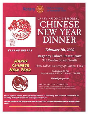 2020 Annual Larry Kwong Chinese New Year Dinner