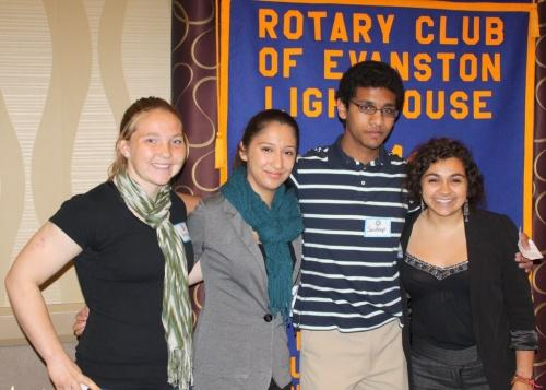 Four Rotaractors at Rotary club meeting on 8-May-12