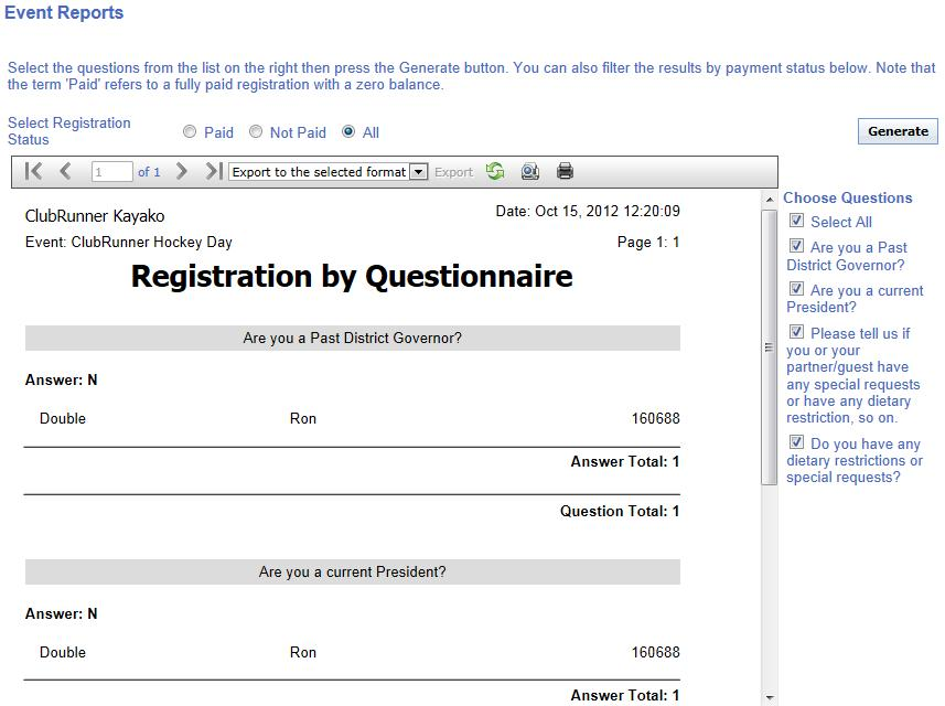 registration by questionnaire